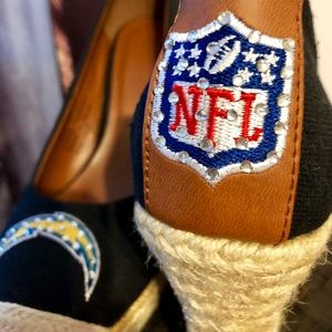 NFL Charger black canvas wedge heels